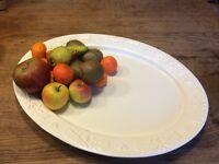 2 Christmas ceramic platters.