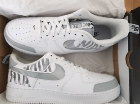 Size 10. Nike air force 1. Under Construction. New. White Grey.