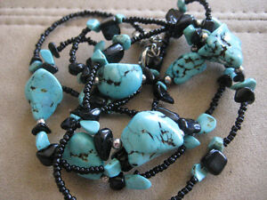 Vintage Jewellery Turquoise Necklace With Black Stones