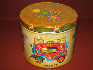 Vintage Metal Round Canister Storage Cookie Tin Circus Theme