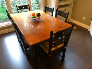 Beautiful Distressed Wood Dinner Table Set - excellent condition
