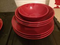 Habitat red crockery plates and bowls