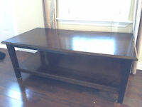 Dark Wood High Table and Chairs + Coffee Table