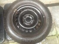 Merc steel rim with tyre