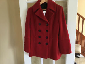 NEW ladies Jones New York classic red pea coat