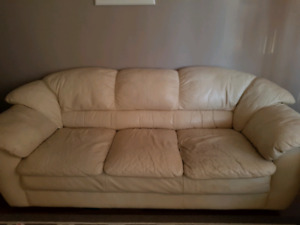 White 3 seat leather couch and love seat