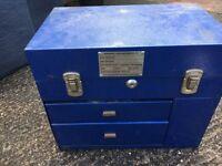 Blue metal storage box