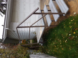 Large metal and wood staircase