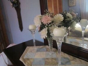 BEAUTIFUL MATCHING CRYSTAL CANDLE HOLDERS