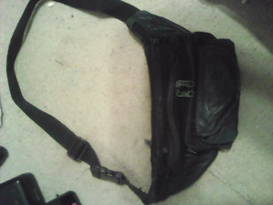 Black Leather Fanny Pack and small black bag