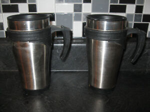 PAIR of Brushed Steel HOT / COLD BEVERAGE (COVERED) MUGS
