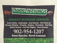 Grass cutting, hedging, seeding, pressure washing
