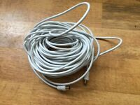 **Brand New 20m Television (TV) Aerial Cable With Gold Connections + Adaptor**