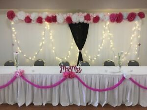 Wedding backdrop, hula hoops and bridesmaid dress