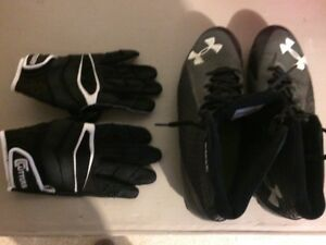 Football cleats &  Football gloves - Excellent Condition