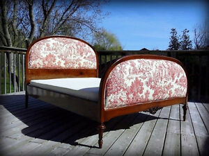 Antique Hespeler Walnut Bed Frame with Upholstery