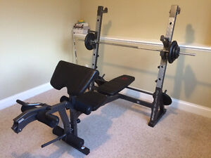 MACY Olympic Series workout bench and weights