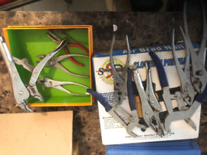 Assorted vice grips and pliers