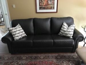 High Quality Leather Couch, Chair & A Half and Ottoman