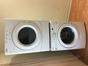 "Whirlpool 27"" white frontload stackable washer & electric dryer"