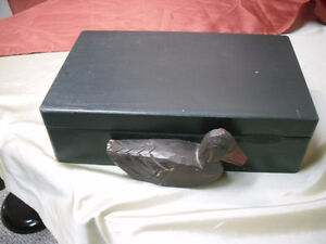 Wooden Box with carved Duck & compartments