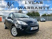 2011 FORD KA 1.2 ZETEC BLACK 3DR ☆ LOW MILES ☆ NEW MOT ☆ FSH ☆ 1 YEAR WARRANTY!