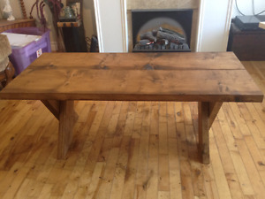 """Rustic coffee table h 18"""" w 221/2"""" l 48"""" $100.00"""