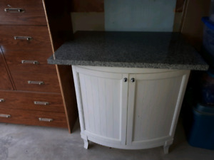 white round front bathroom vanity   with grey granite solid top