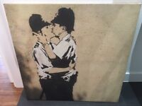 """Large Banksey """"Kissing Coppers"""" canvas print"""