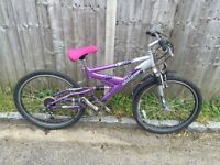 Raleigh Ladies Full Suspension Bike, Serviced, Free Lock/Lights/Delivery