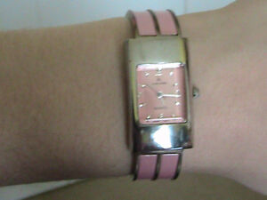 Pink metal strap womens watch