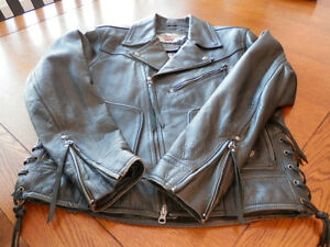 Harley Davidson Classic Distressed Leather Jacket Mens Large