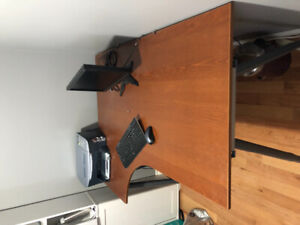 Office desk, wood L-Shape with matching filing cabinet.