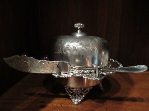 Antique Silver Butter Dish with knife