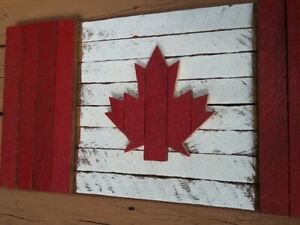 Rustic, Wooden Canadian Flag