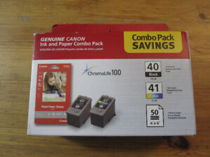 Genuine Canon ink and paper combo pack 40 & 41, 50 Paper