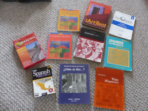 """$45 · A box of quality """"learn Spanish"""" books and CDs - see photo"""