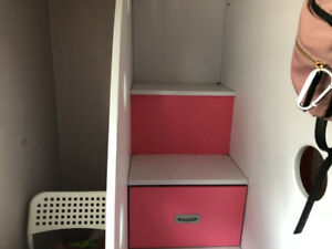 Pink and white loft bed