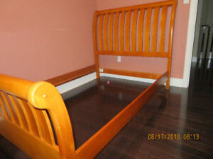 Solid Wood Pine Oak colour Bed Frame - Double/Full Size