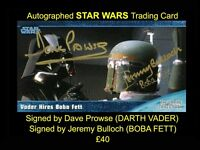 STAR WARS Widevision Trading Card Signed by DAVE PROWSE and JEREMY BULLCH