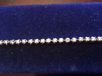 14K Solid Yellow Gold Tennis Bracelet with REAL DIAMONDS