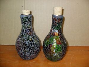 2 Medievel style Stained Glass Bottles with Corks