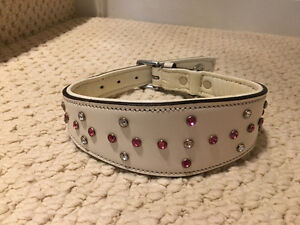 "White Leather Dog Collar 17.5- 21"" Swarovski Crystals brand new"