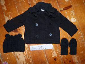 12-18 months winter coat (peacoat), hat and mittens