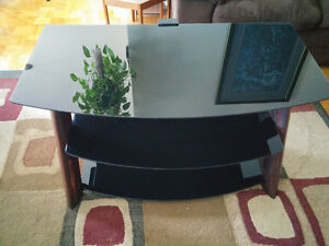 Beautiful Wood, Glass and Steel TV Stand