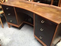 Vintage retro wooden stag g plan shabby chic office computer desk dresser chest of drawers curved