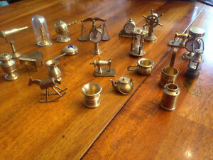 Large Set Brass Miniatures Doll House Collectibles