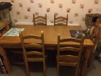 Solid wood dinning table & 6 chairs