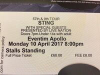 STING Concert tickets ( x 4 ) London Apollo theatre 10th April 2017
