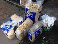 Rabbit bedding, hay and food